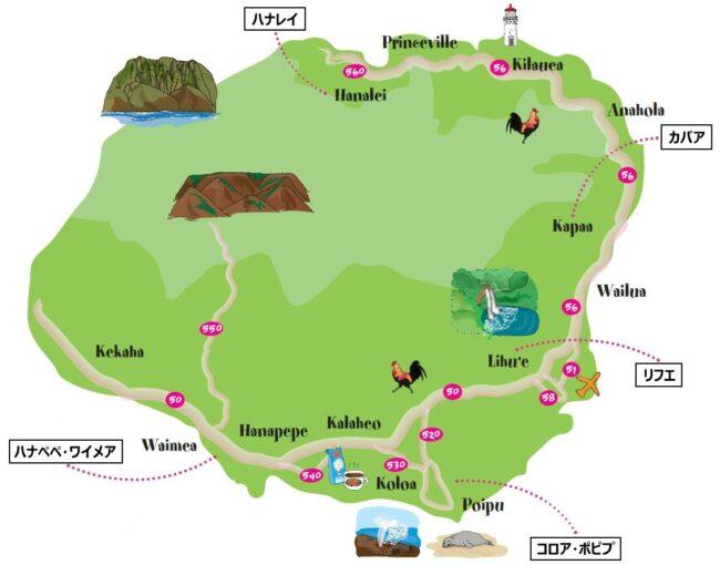 カウアイ島の地図
