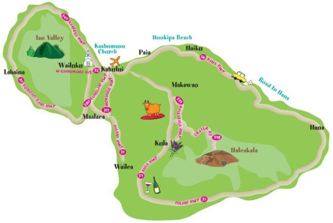 マウイ島の地図