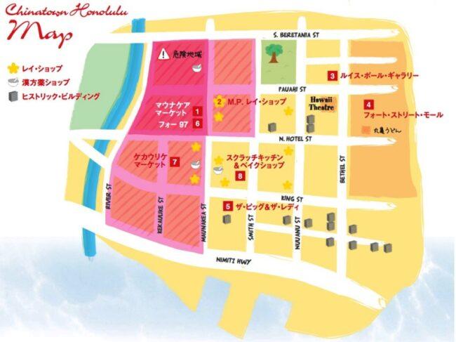 チャイナタウン・ホノルルの地図